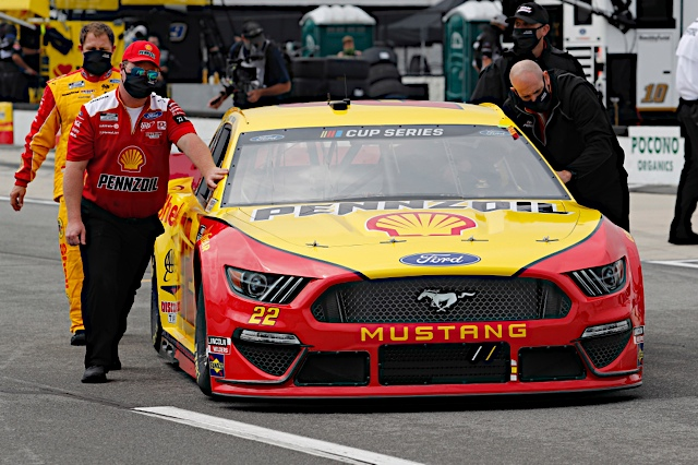 June 27, 2020:   #22: Joey Logano, Team Penske, Ford Mustang Shell Pennzoil  at Pocono Raceway in Pocono, PA.  (HHP/Andrew Coppley)