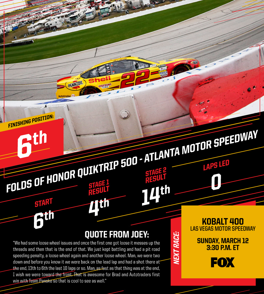 Logano Finishes Sixth in the Folds of Honor QuikTrip 500