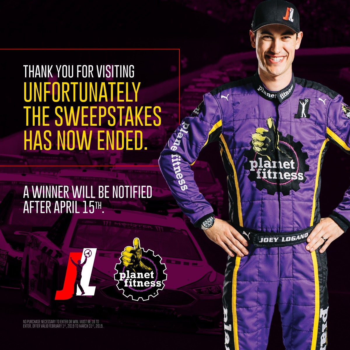 Champion Driver Joey Logano Planet Fitness Sweepstakes